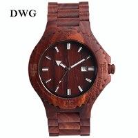 DWG Retro Red Sandalwood Quartz Movt Watch Men Wood Watch Date Function Solid Wooden Strap Hand
