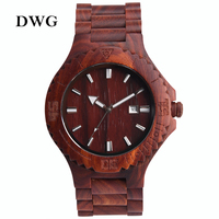 DWG Retro Red Sandalwood Quartz Movt Watch Men Wood Watch Date Function Solid Wooden Strap Hand