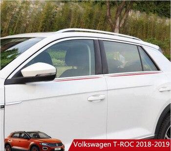 JIOYNG acier inoxydable voiture pleine fenêtre décoration bandes revêtement d'habillage adapté pour Vw Volkswagen T-ROC 2018 2019