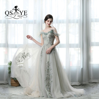 QSYYE 2019 Amazing Cheap Elegant Tulle Evening Prom Dresses Mint Green Lace Appliques Discount Low Price Party Gown
