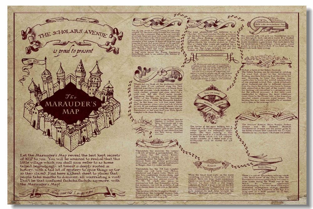 Custom Canvas Wall Decor Retro Marauders Map Poster Magic