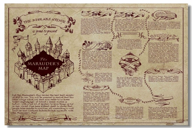 Custom Canvas Wall Decor Retro Marauders Map Poster Magic World Map ...