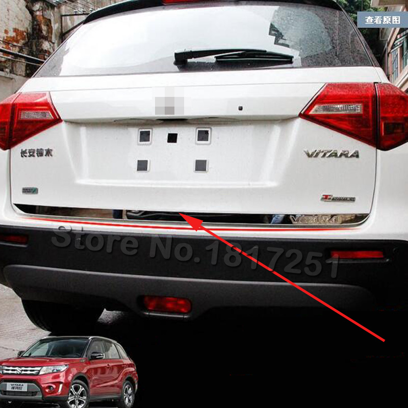 Për Suzuki Vitara Tailgate Rear Door Bottom Cover Moulding Trim Stainless Steel inox me dyer të holla shtesë Aksesorë 2019 2018 2017