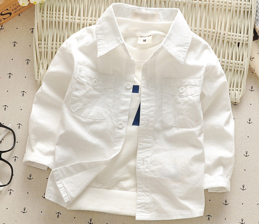 New Boys Shirt for Kids Fashion Clothes Baby Boys Long Sleeve White Shirts England Children Clothing Newborn Cotton Tops 1-4T sunveno white 4t