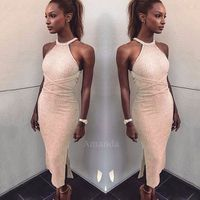 Midi Bandage Dress Red Nude Halter Backless Women Long Brief Evening Wedding Gown Girl Party Dresses
