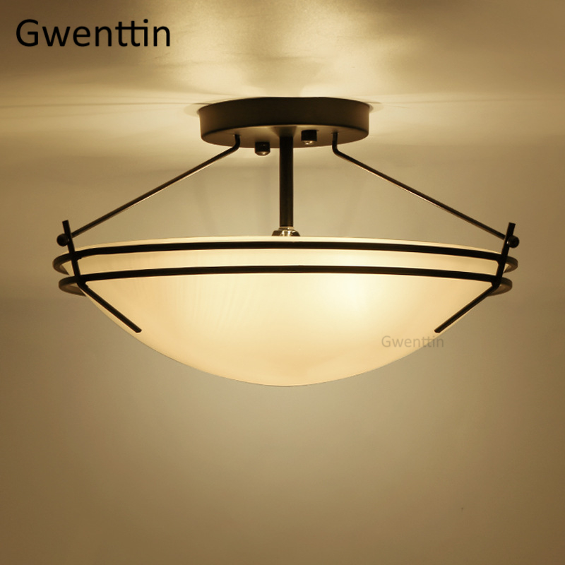 Vintage Glass Ceiling Lights Led Black Iron Ceiling Lamp for Home Living Room Bedroom Kichen Light Fixtures Suspension LuminaireVintage Glass Ceiling Lights Led Black Iron Ceiling Lamp for Home Living Room Bedroom Kichen Light Fixtures Suspension Luminaire