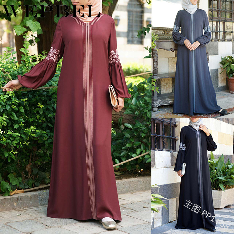 WEPBEL Muslim Women Dress Vintage Floral Flower Print Long Summer Chiffon Full Sleeve Islamic Abaya Arabic Lady Dresses