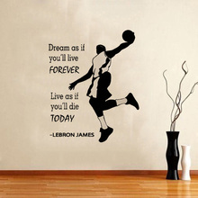 Champion Lebron James Quots Saying Wall Vinyl Decal Home Decor Sticker  Quote Phrase Basketball Removable Mural D-34
