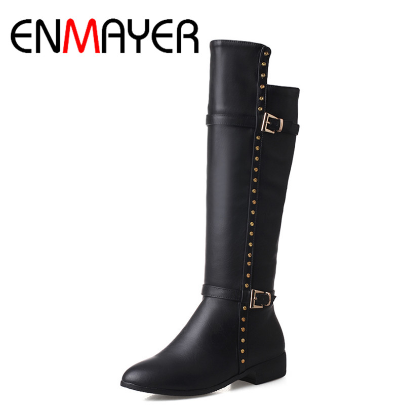 ENMAYER New Half Boots Shoes Women Low Heels Platform Shoes Classic Black Shoes Mid-calf Boots Zippers Winter Boots Western zippers double buckle platform mid calf boots