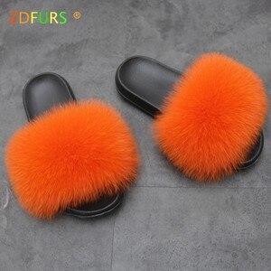 Image 3 - ZDFURS * zapatillas de piel de zorro para mujer, Sliders suaves, cómodos zapatos planos de verano con piel de mapache, zapatos de suela EVA a la moda