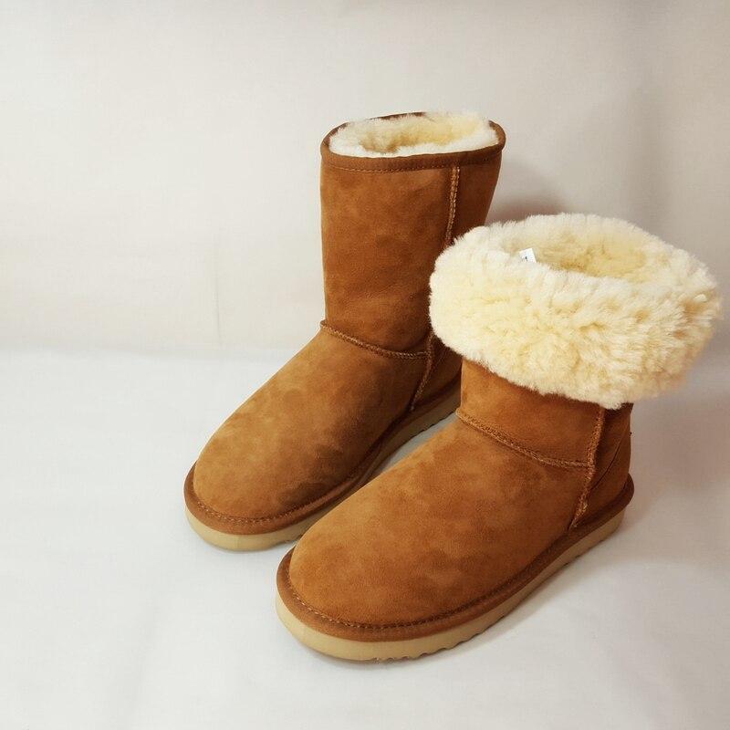 Mouton Chaud En De Fourrure 42 Chestnut Taille Femmes D'hiver Marron Bottes Réel Peau Classique Au Sanlume Garder Neige black Moutons Cuir 100 nFXxE