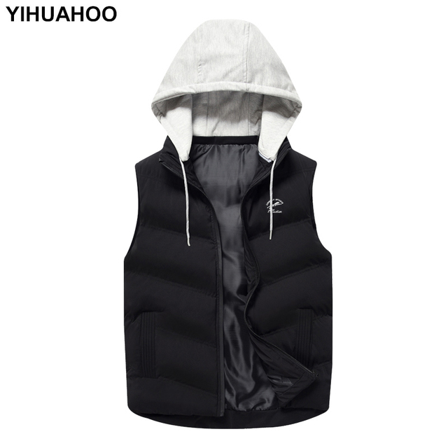 af02aea14fe YIHUAHOO Casual Vest Men New Arrival Top Quality Bodywarmer Waistcoat  Sleeveless Hooded Thick Winter Jacket Coat