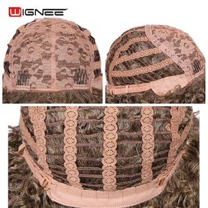 Image 5 - Wignee Blonde Wig With Bangs High Temperature Human Curly hair wig Synthetic Wigs For Black Women African American Natural Wigs