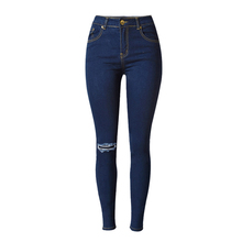 2017 Winter Spring Women Knee Hole Jeans Elastic Plus Size Pencil Pants Dark Blue Quality Guarantee MS936