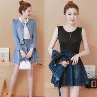 Women set fuff sleeve and short full skirt denim sets