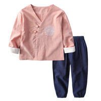 Boys Clothing Sets 2018 Chinese Style V Collar Linen Button Long Sleeve Top Pants Kids Suits