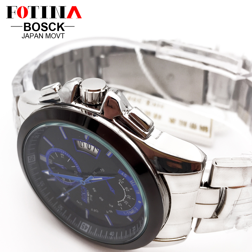 FOTINA Top Brand BOSCK Casual Business Watch Men Stainless Steel Water Resistant Quartz Clock Auto Day Date Watches Montre Homme 4