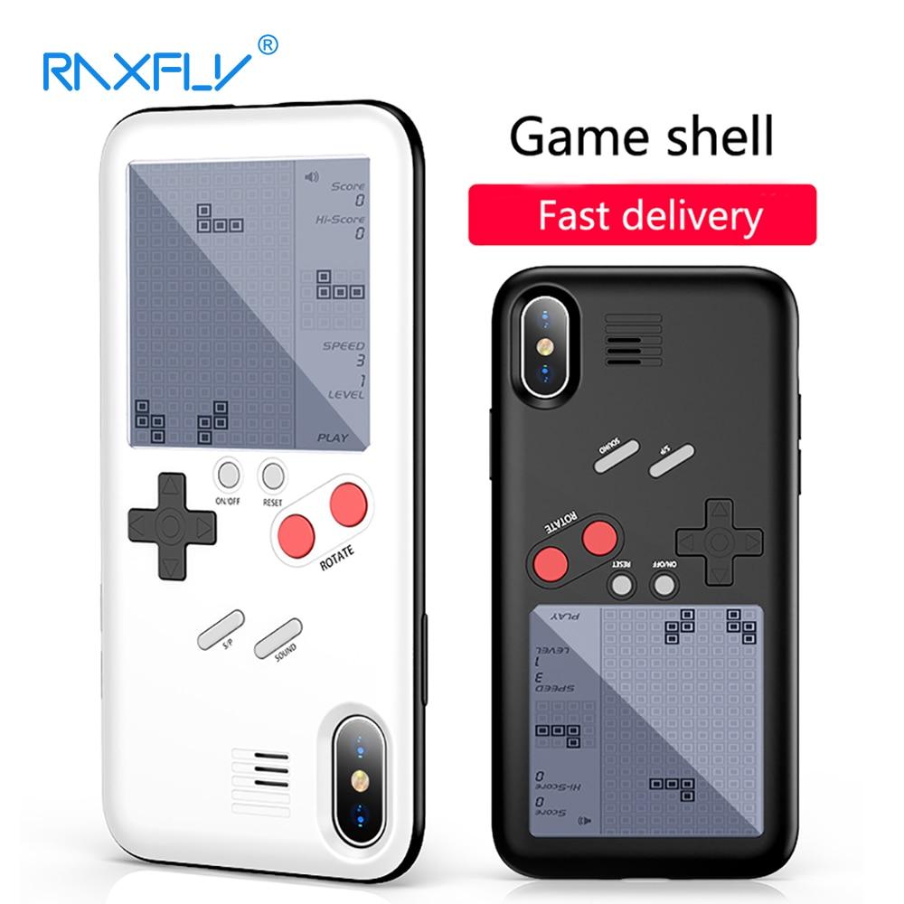 RAXFLY Console di Gioco Per il Caso di iphone X Tetris Gioco Cassa Del Telefono Per il iphone 8 7 Più Completa Protezione Per il iphone 6 6 s Plus Couqe Copertura