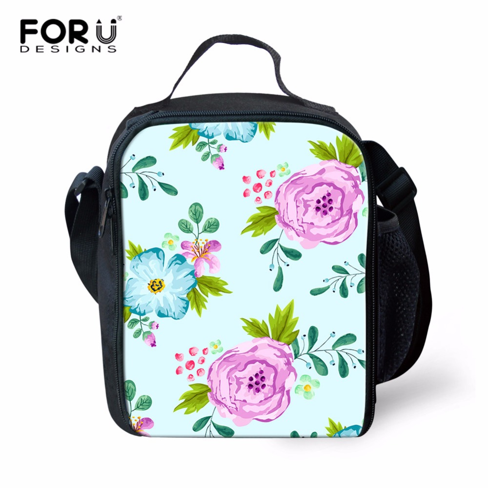 FORUDESIGNS 3D Flowers Lunch Box For Kids Animal Child Insulated Thermal Lunch Bags Luxury Designer Lancheira Picnic Food Bags