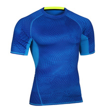 Dry quick Mens high Elastic Pressure Shaper male T Thirts body building Tight Tops clothings NA20
