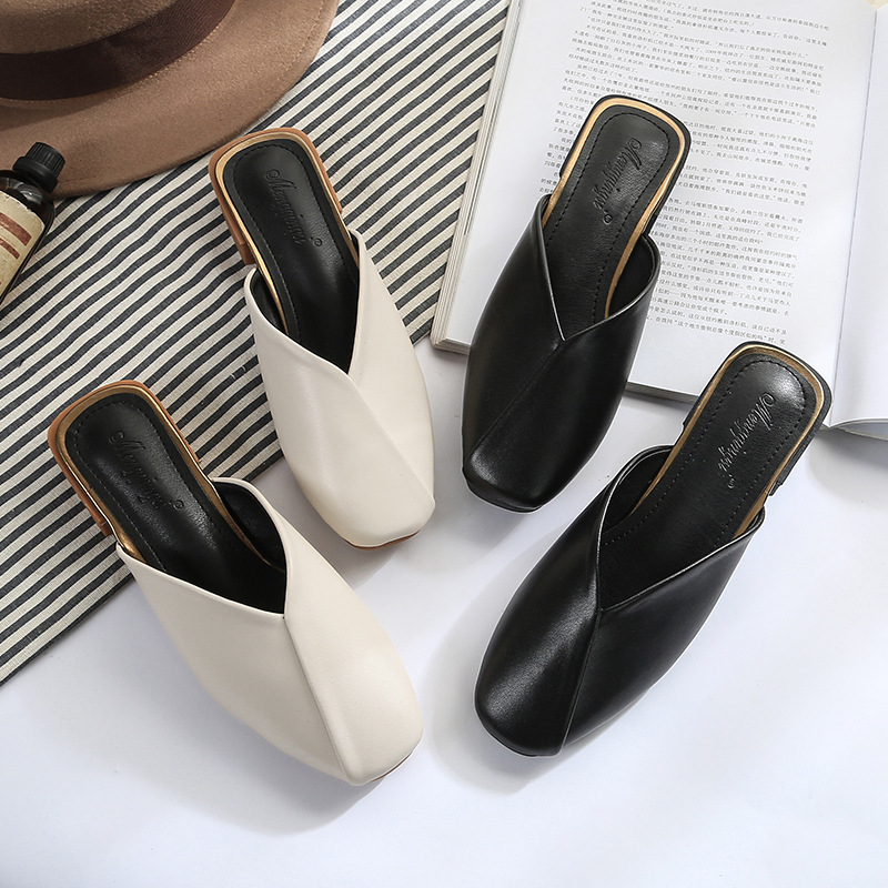 Muller Shoes Women Autumn New Korean Version Of Wild Square Head Retro Toe Half Drag  Thick Heel With Sandals