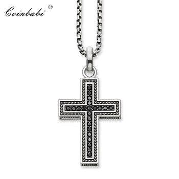 Collar de cadena de eslabones, Cruz Negra, pavé, regalo para hombres y mujeres, estilo Thomas Heart TS de plata esterlina 925, joyería de moda