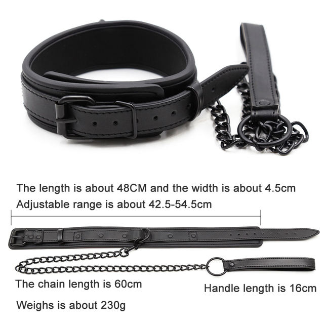 Bdsm Collar Leather And Iron Chain Link bdsm Slave Collars Women Bondage Collar Sex Toys For Couples Adults Sex Restraints 3