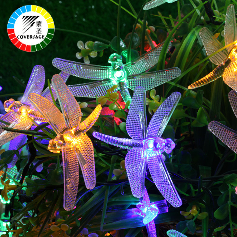 Coversage 20 Leds Solar Powered Garland Outdoor String Lights Dragonfly Starry Lighting Christmas Tree Xmas Curtain Decoration