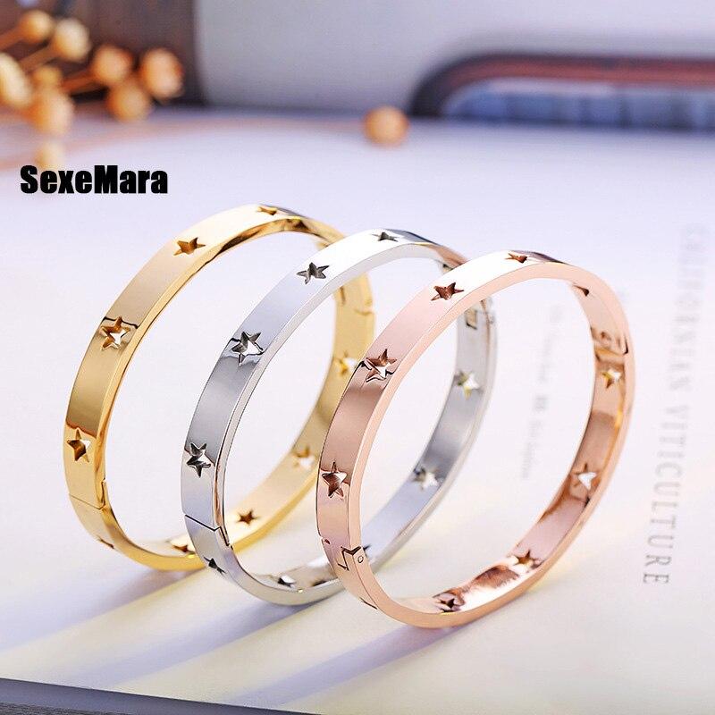 Bracelet en acier titane creux à cinq branches de style américain, or rose, ne se décolore pas