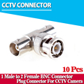 10Pcs/lot Coaxial T Connector 1 Male to 2 Female Coupler 3 Way BNC Connector For CCTV Camera