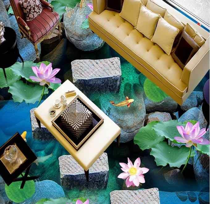 Custom tegel vloeren badkamer Steen loopbrug rivier water 3d floor stickers waterdichte geluidsisolatie zelfklevende floor