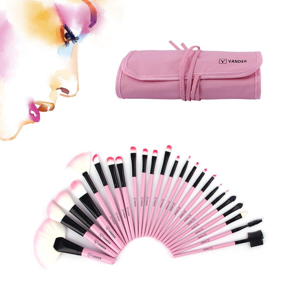 VANDER Woman's Professional 24Pcs Makeup Brushes Set Pink Cosmetics Powder Foundation Pincel Make Up Maquiagem Tools + Pouch Bag vander 8pcs professional rose pink