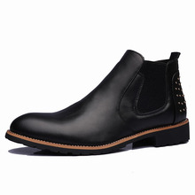 New Arrival Luxury Brand Men Genuine Leather Shoes rivet Cowboy Western Martin Chelsea Ankle Boots For Men цены онлайн