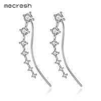 Mecresh Glittering Cubic Zirconia White Gold Color Ear Cuffs Earrings Pins 925 Sterling Silver Stud Earrings