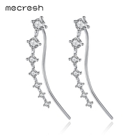 Mecresh Glittering Cubic Zirconia White Gold Color Ear Cuffs Earrings Pins 925 Sterling Silver Stud Earrings