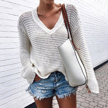 Bellflower Sweater Women Pullover Knitted 2018 Fashion V Collar Hollow Out Sexy Sweaters for Women Autumn Winter Loose Sweater