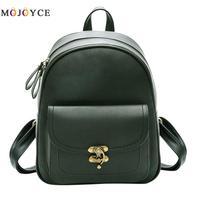 2018 New Vintage Women Backpacks PU Leather Shoulder Bag Simple Casual School Bookbag For Girls Feminine