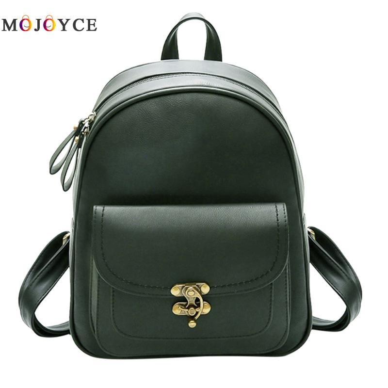 Vintage Pu Leather Women Backpack Simple Girls Shoulder Feminine Mini Back Pack Mochila Feminina
