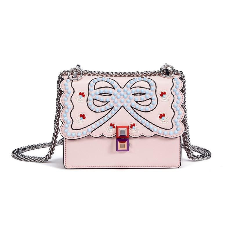 2018 Red Rivet Bow Luxury Handbags Women Bags Designer Split Leather Embroidery Flower Chains Crossbody Bags For Women Fashion
