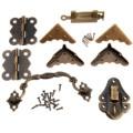 9 Unids Conjunto Caja de Madera Antiguo Chino Brass Hardware Pestillo Cerrojo + Manija Del Tirón + Bisagras + Corner Protector + vieja Cerradura Muebles Accesorios