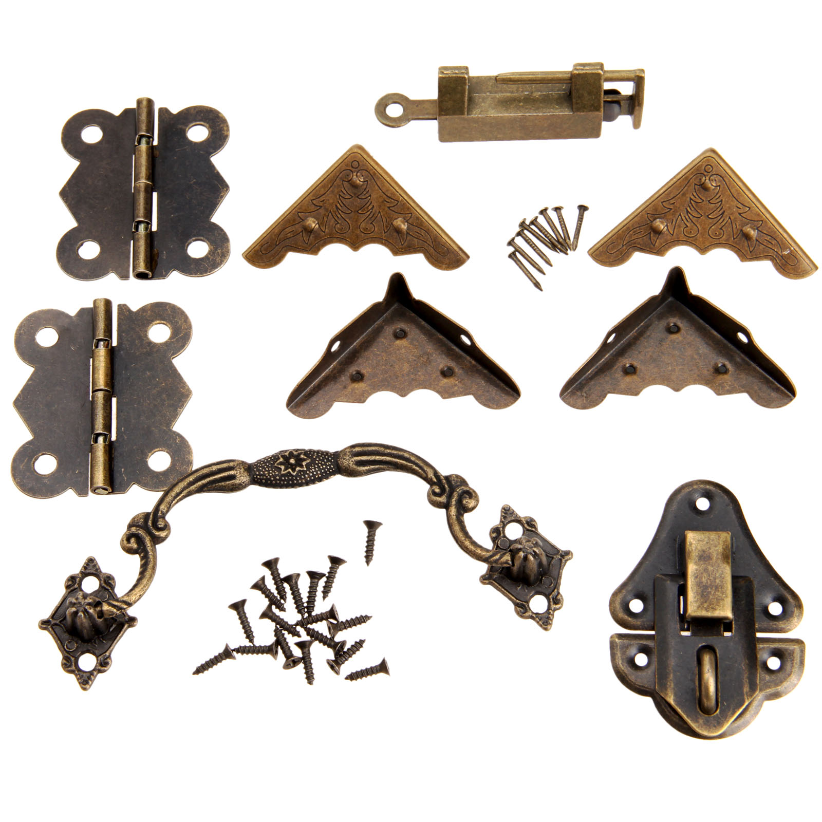 9Pcs Chinese Brass Hardware Set Antique Wooden Box Latch Hasp+Pull Handle+Hinges+Corner  ...