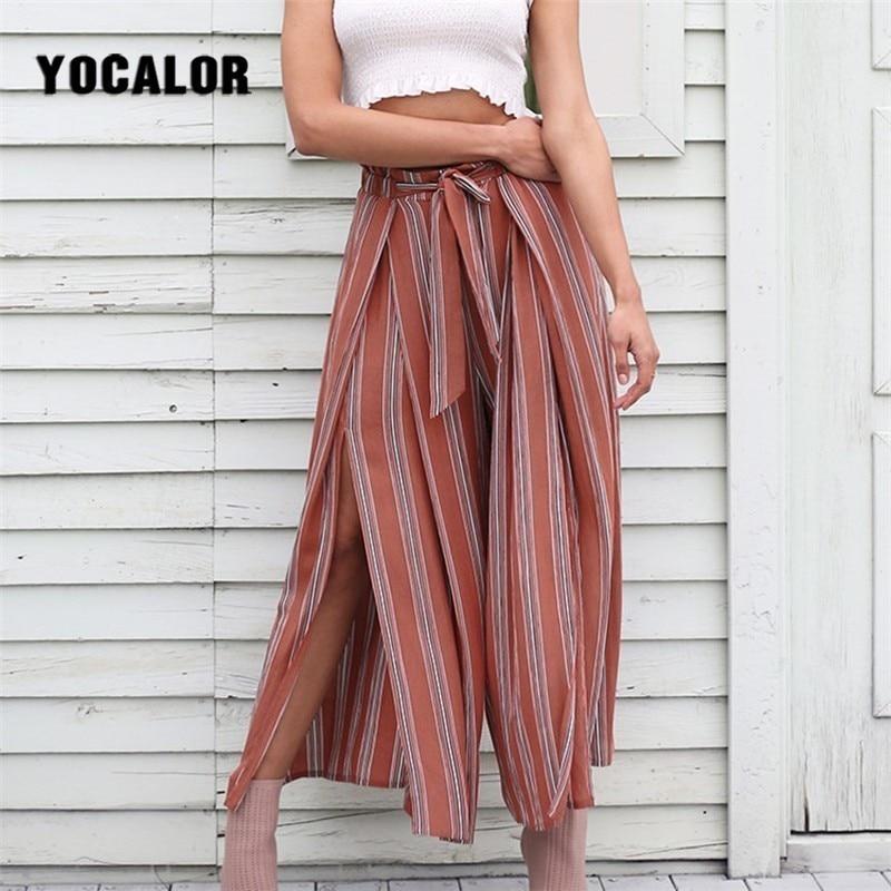 2019 Split Striped Lady   Wide     Leg     Pants   Women Summer Beach High Waist Trousers Chic Streetwear Sash Capris Female Pantalon Femme