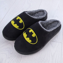CN size Batman pattern Cartoon women&men interior house plush soft cotton Slippers Shoes non slip floor furry for bedroom