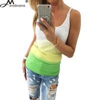 Avodovama M Fashion New Summer Women Tops Femal Vest ShirtsSleeveless Gradient Colour Casual Blouses