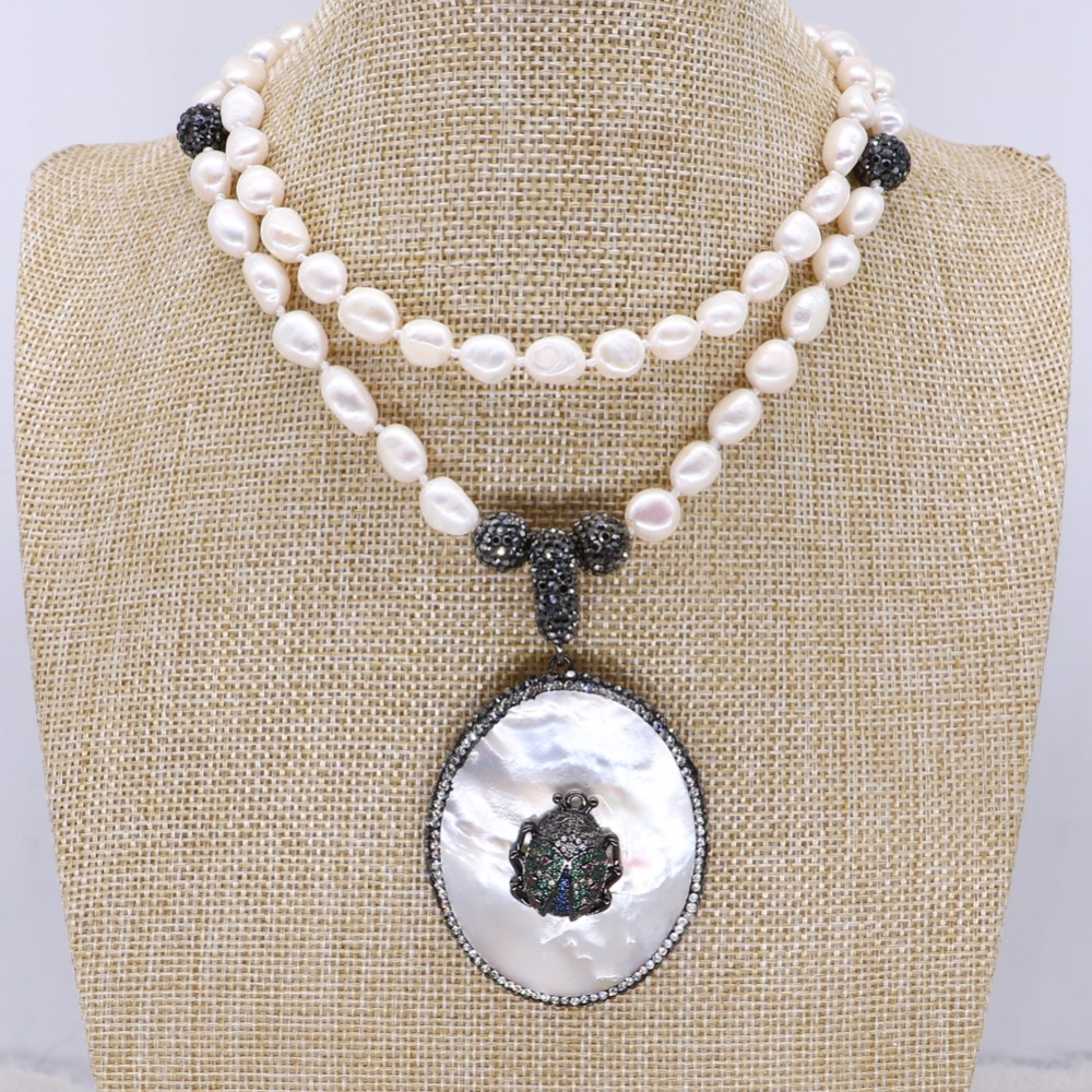 Natural pearls necklace pendant necklace Shell pendant with zircon bugs jewelry necklace fashion jewelry gift for lady 4129