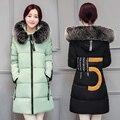 Mulheres jaqueta de inverno 2017 nova grande gola de pele com capuz grosso parka casaco para mulheres outwear quatro cor fêmea magro clothing