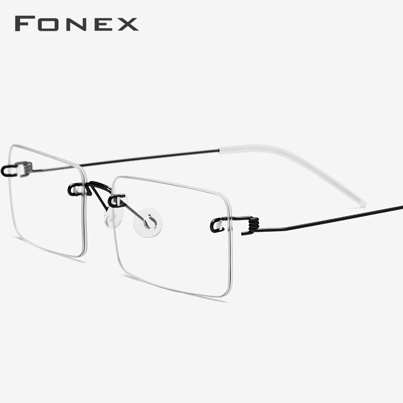 FONEX Screwless Eyewear Prescription Eyeglasses Women 2019 Rimless Myopia Optical Korean Titanium Alloy Glasses Frame Men