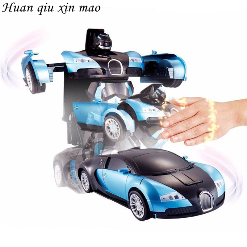 Huan qiu xin mao Luxury Sports car Models gesture Deformation Robot Transformation Remote Control RC Car Toys Gift for children huan nuo