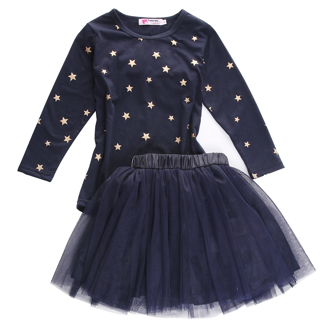 Fashion Pretty Baby Girls Party Star O neck Long Sleeve Tops T-shirt+Tulle Skirts 2pcs Set 2-7Years ободки pretty mania ободок