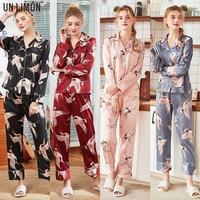UNLIMON Women Sleepwear Korean Fashion Home Dress Stain Long Sleeve Nightdress